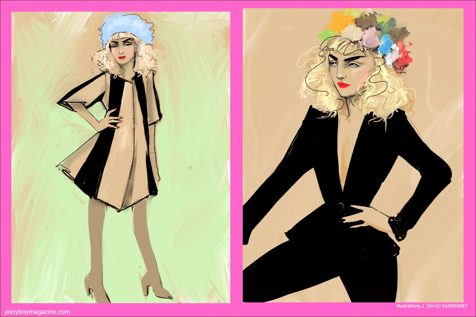Illustrations of beautiful model Stella Rose Saint Clair for Ponyboy Magazine New York City.