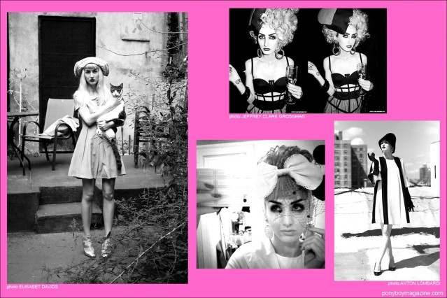 Various b&w photos of model Stella Rose Saint Clair for Ponyboy Magazine in New York City.