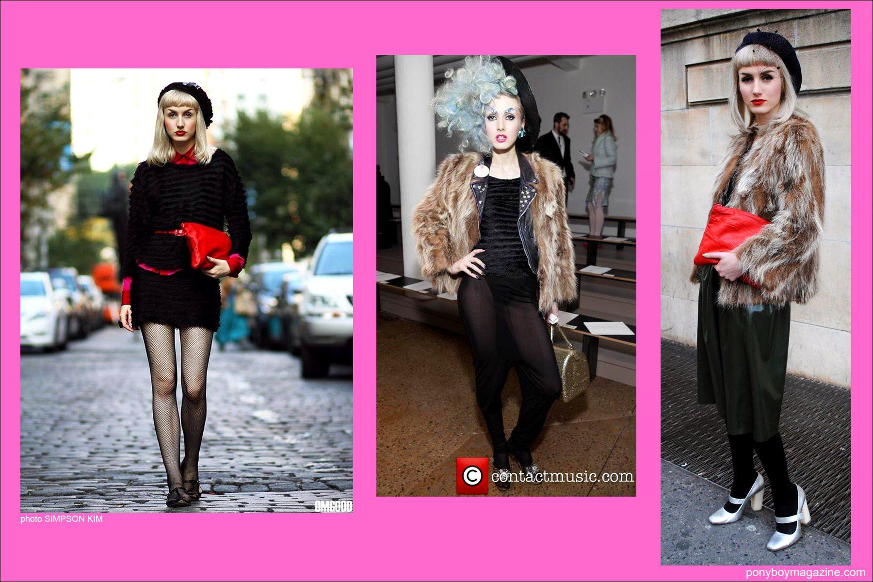 Street style shots of model/designer Stella Rose Saint Clair in New York City for Ponyboy Magazine.