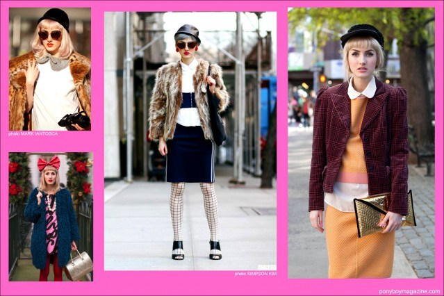 Assorted street style images of downtown New York City model Stella Rose Saint Clair for Ponyboy Magazine.