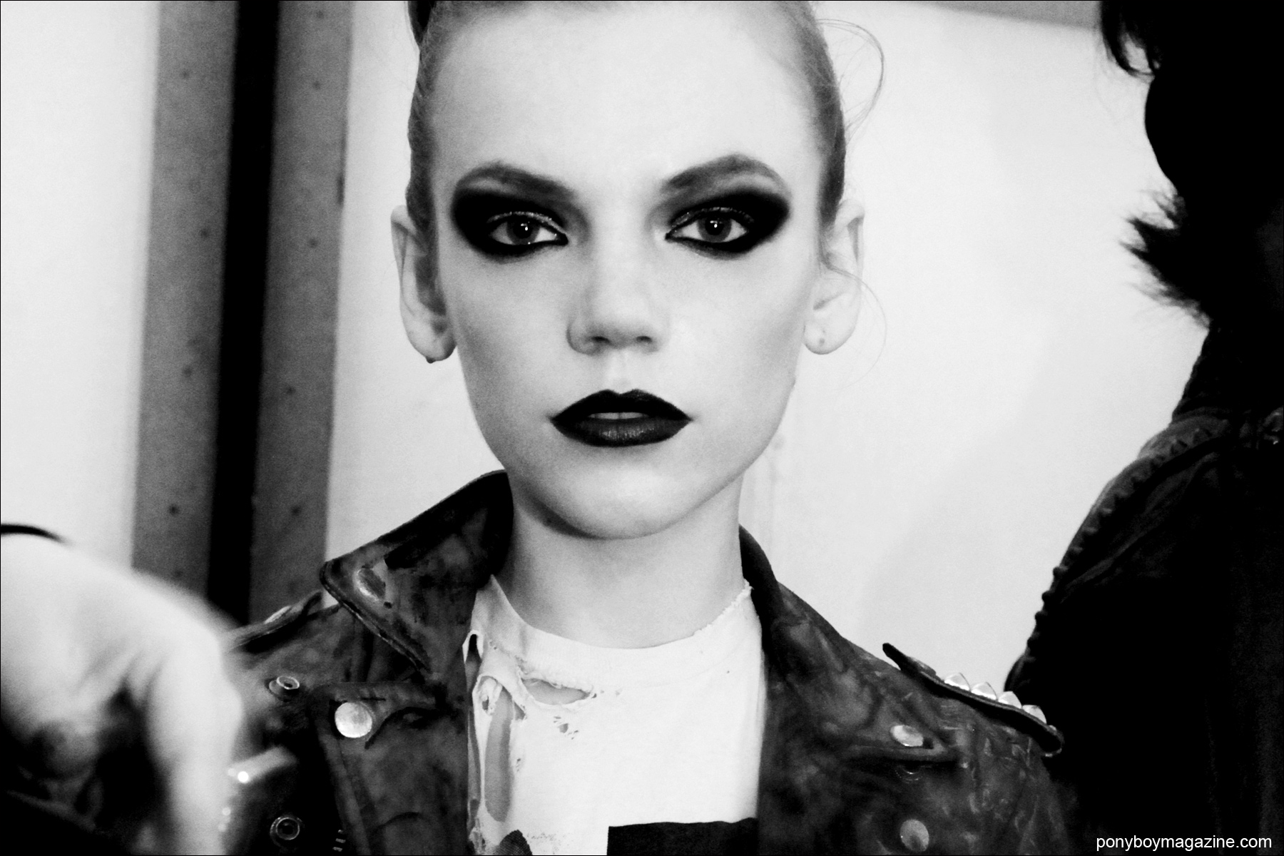 Backstage Punk Beauty, photographed by Alexander Thompson for Ponyboy Magazine at the Christian Benner A/W 2014 runway at New York City's Pier 59 Studios.