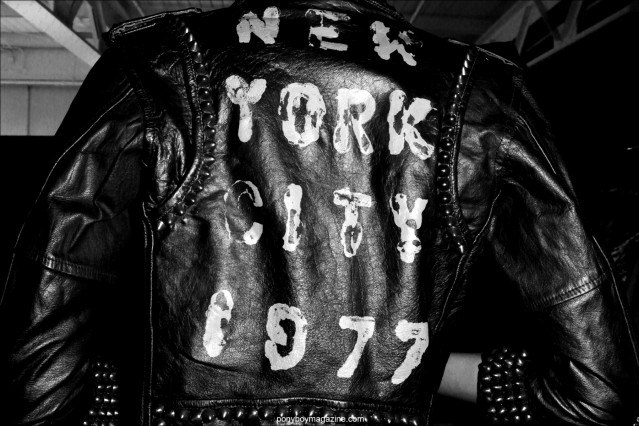 The back of a custom leather jacket by Christian Benner A/W 2014, photographed at New York City's Pier 59 Studios for Ponyboy Magazine by Alexander Thompson.