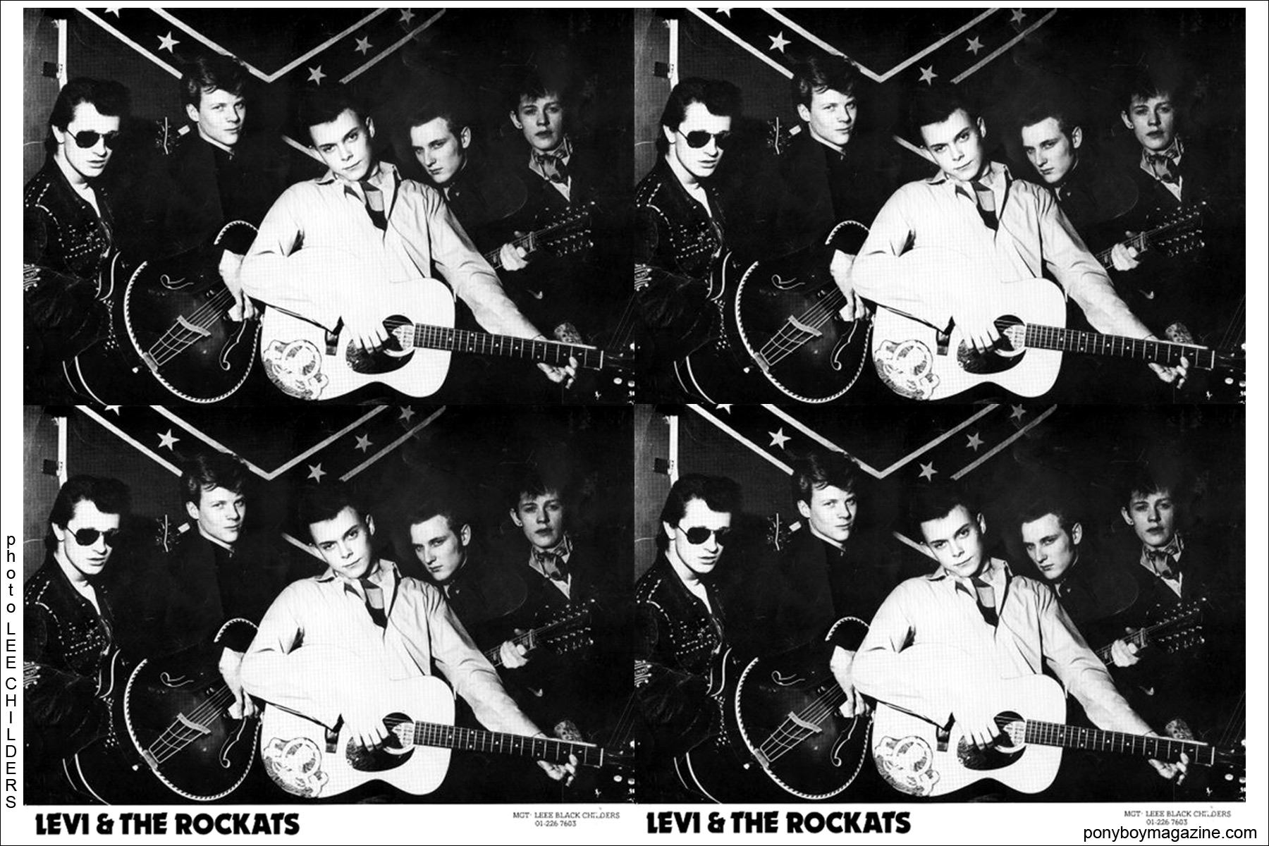 B&W band photo of Levi & The Rockats by Lee Childers, Ponyboy Magazine.