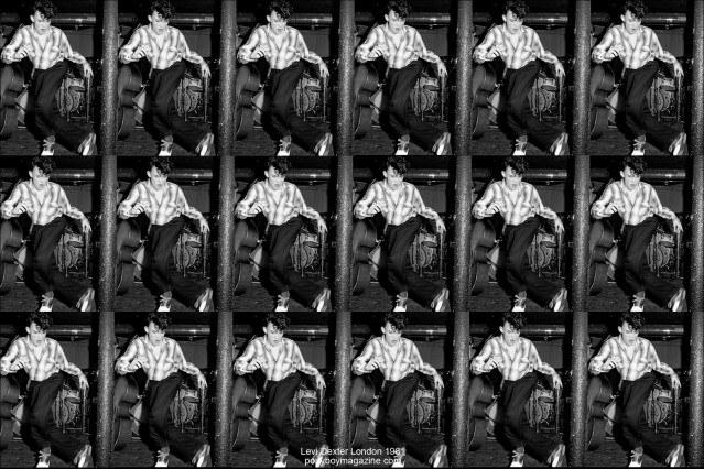 B&W collage of Rockabilly performer Levi Dexter in 1981 London, Ponyboy Magazine.