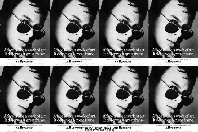 Vintage L.A. Eyeworks ad with Rockabilly legend Levi Dexter, photographed by Matthew Rolston in the early 80's, Ponyboy Magazine.