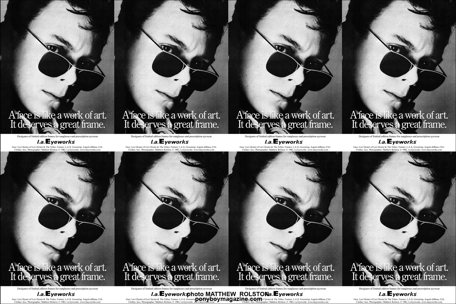 L.A. Eyeworks ad from the 80's with Rockabilly legend Levi Dexter, Ponyboy Magazine.