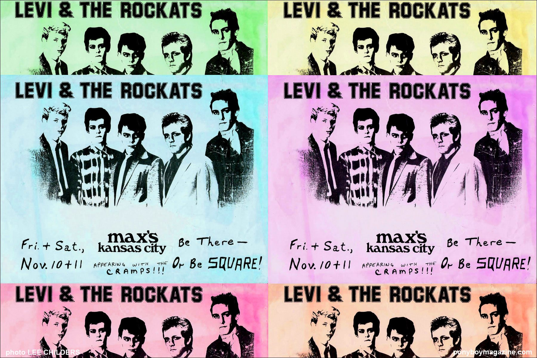 Vintage posters for Rockabilly band Levi & The Rockats at Max's Kansas City In NYC, Ponyboy Magazine.