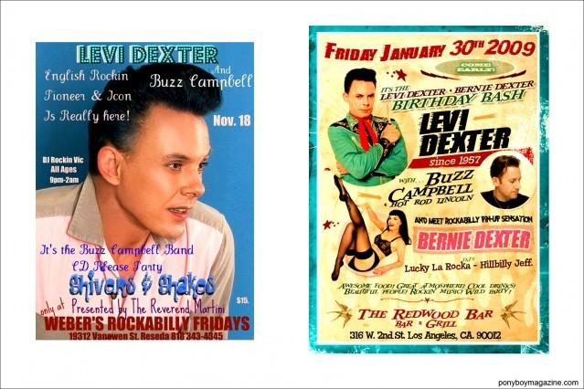Rockabilly flyers for Levi Dexter, Ponyboy Magazine.