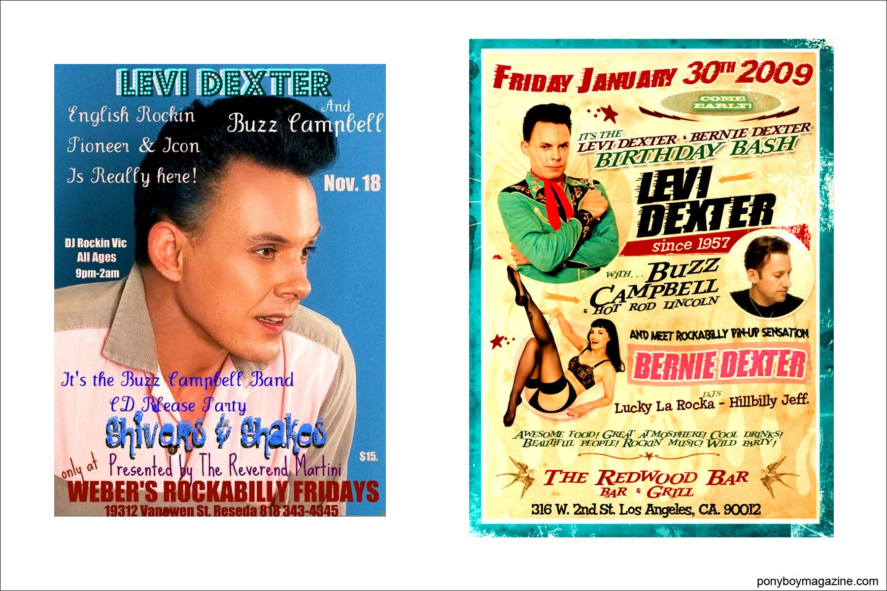 Rockabilly flyers for singer Levi Dexter, Ponyboy Magazine.