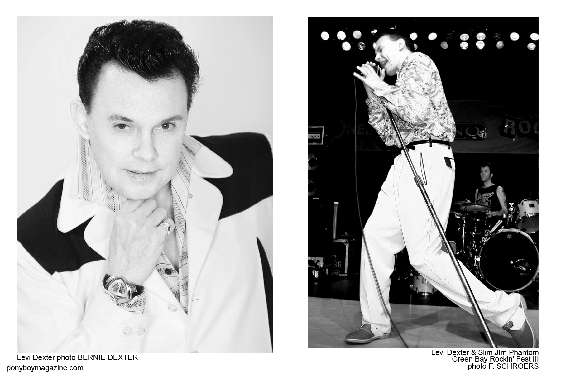 Photos of Rockabilly singer/performer Levi Dexter, Ponyboy Magazine.