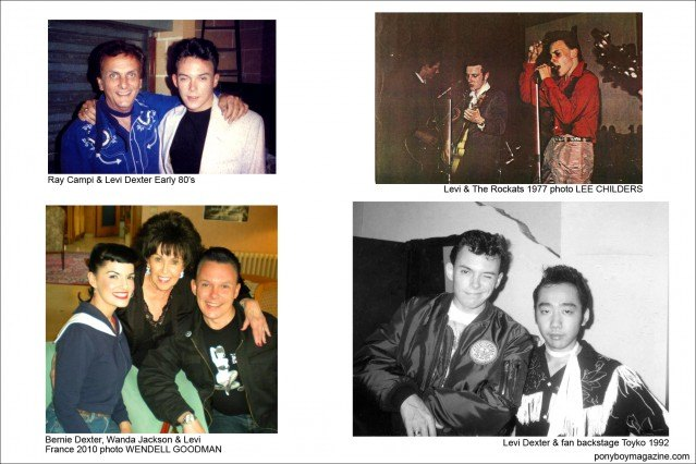 Various photos of Rockabilly performer Levi Dexter throughout the years, Ponyboy Magazine.