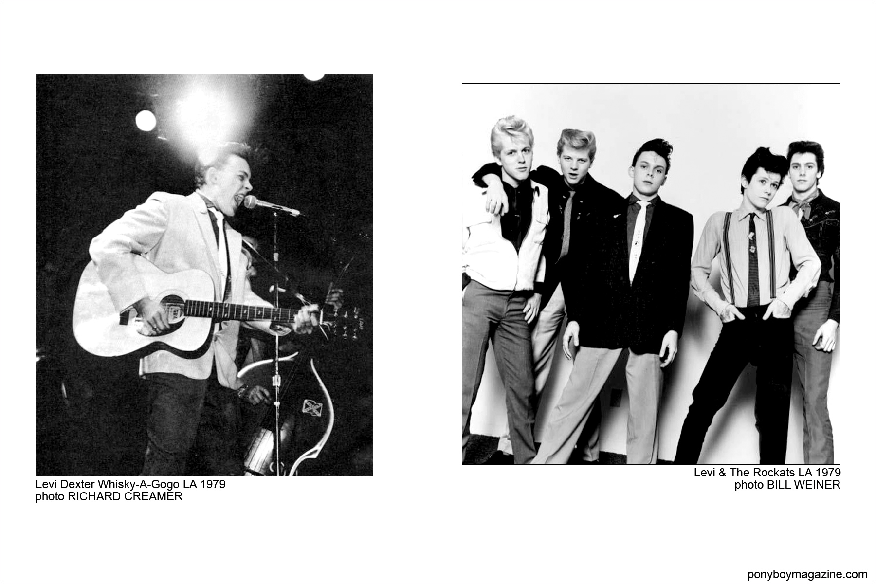 Old b&w photos of Rockabilly band Levi & The Rockats for Ponyboy Magazine.