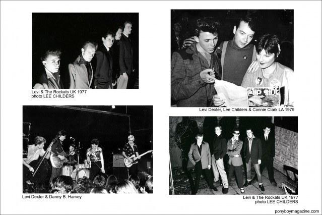 Various b&w photos of Levi Dexter with the Rockats and Danny B. Harvey, Ponyboy Magazine.