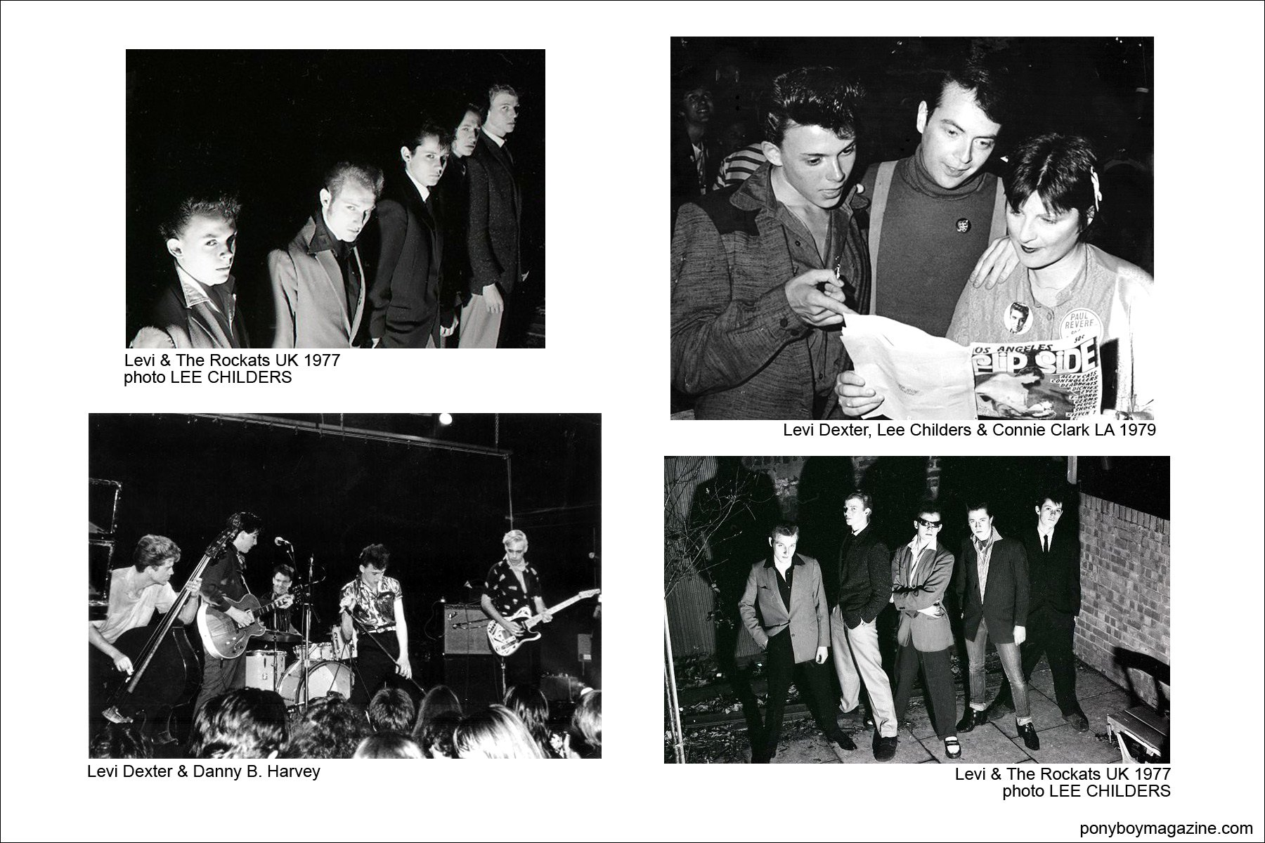 Various old b&w photos of Levi and The Rockats, Ponyboy Magazine.