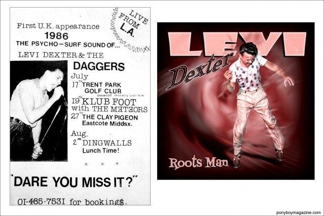 Artwork of Rockabilly legend Levi Dexter, Ponyboy Magazine.