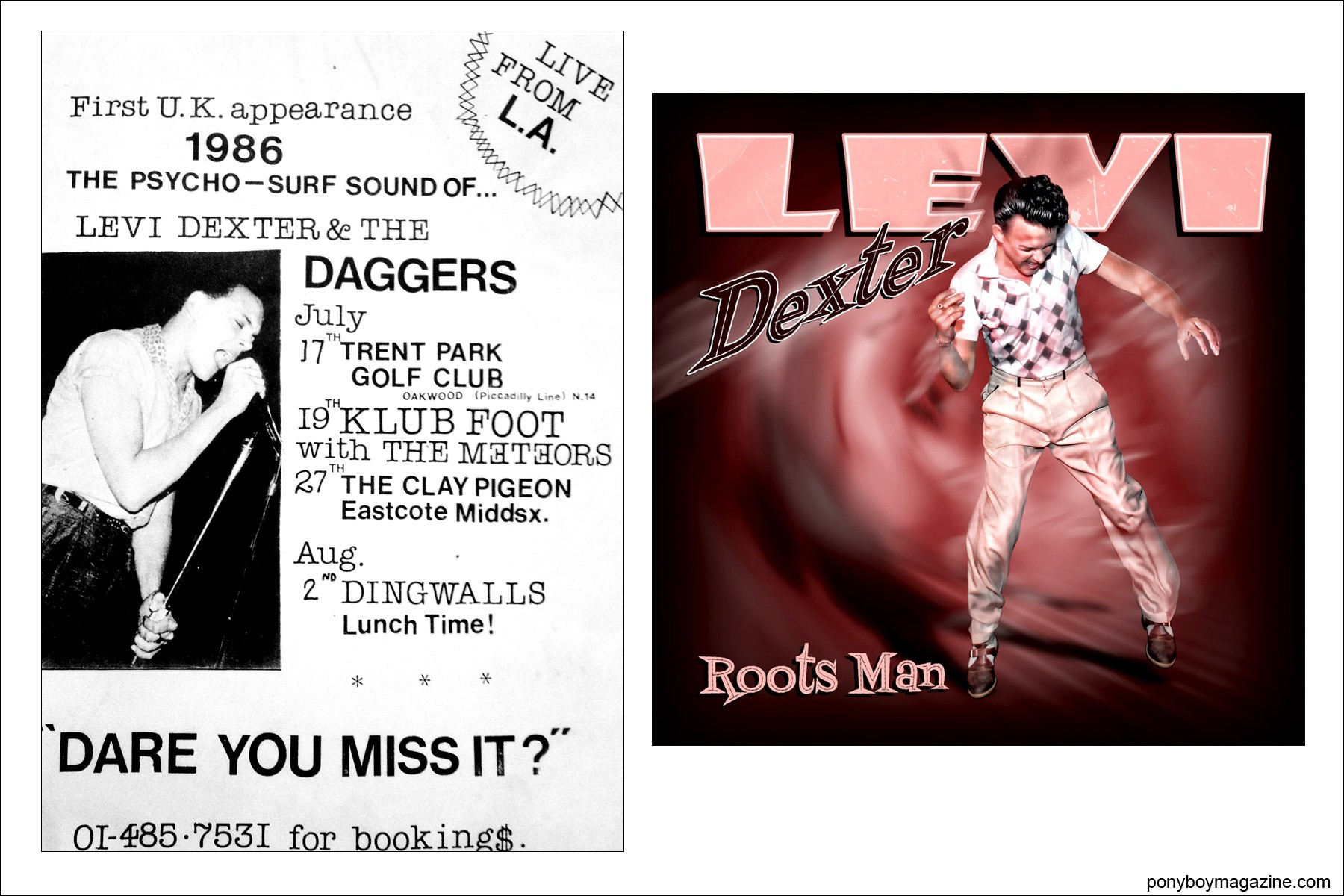 Artwork for Rockabilly singer Levi Dexter, Ponyboy Magazine.