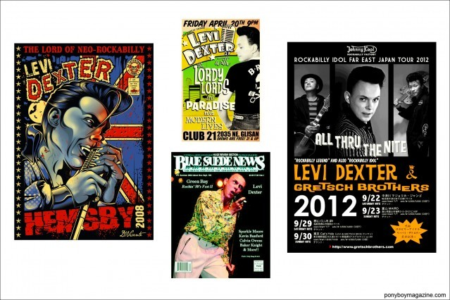 Artwork of Neo-Rockabilly legend Levi Dexter, Ponyboy Magazine.