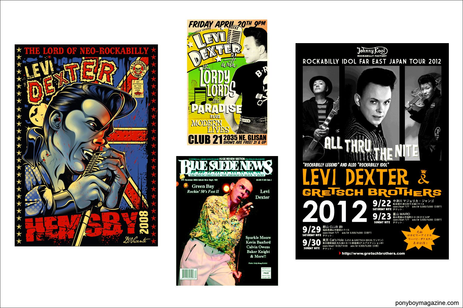 Various flyers for Rockabilly performer Levi Dexter, Ponyboy Magazine.