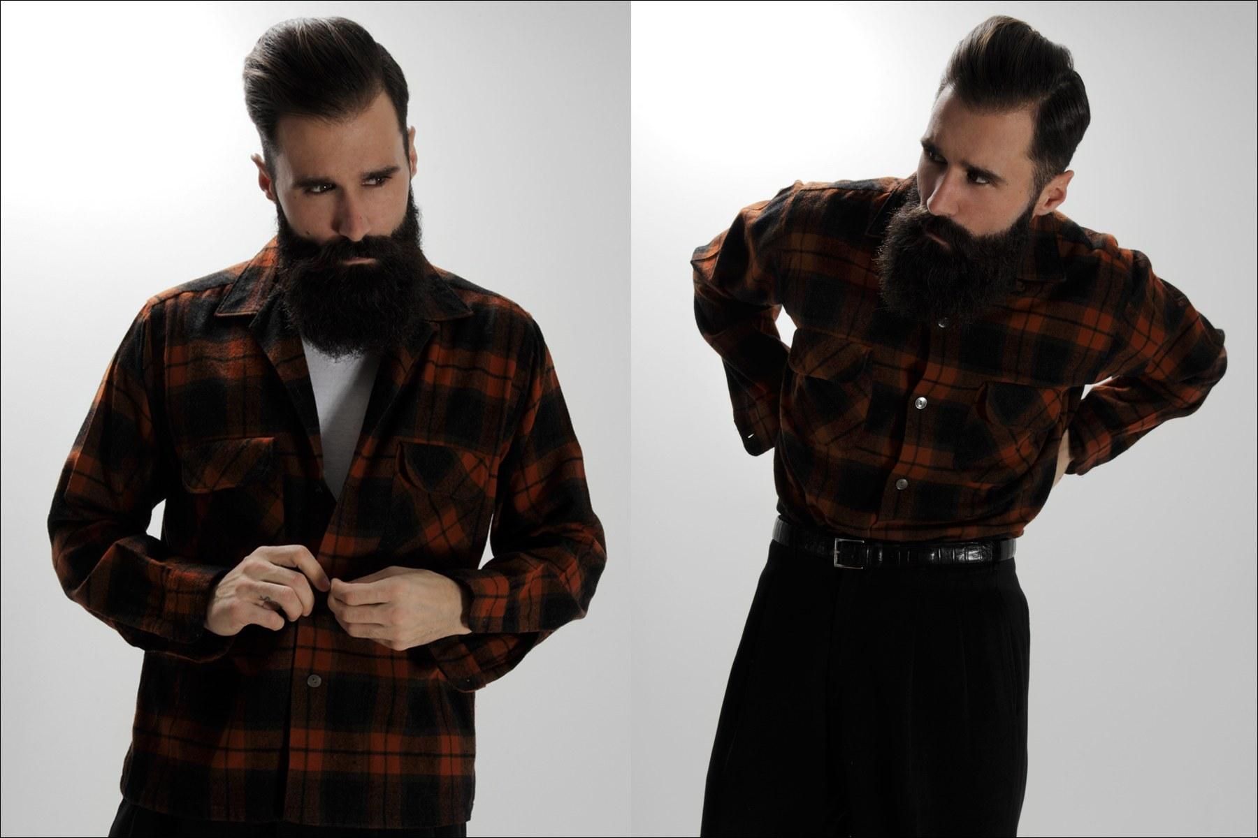 Male model Luke Ditella wears a vintage Pendleton shirt for Ponyboy Magazine men's editorial, photographed by Alexander Thompson in New York City.