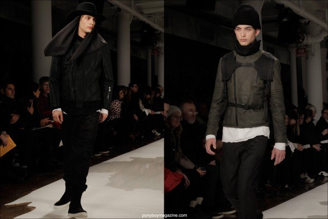 Male models walk the runway for edgy menswear designer Public School, photographed by Alexander Thompson for Ponyboy Magazine in New York City.