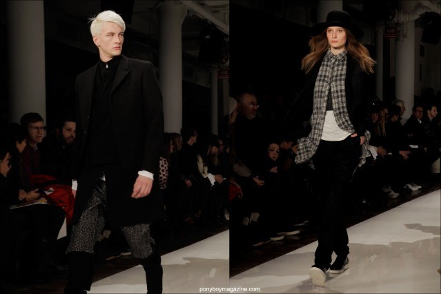 Cutting edge men's and women's clothing shown on the runway by Public School A/W 2014 during fashion week in New York City. Photographed by Alexander Thompson for Ponyboy Magazine.