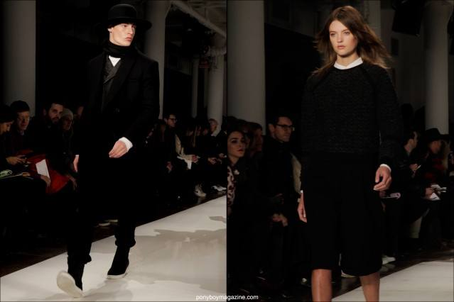 Models on the catwalk for Public School A/W 2014 collection in New York City, photographed by Alexander Thompson.