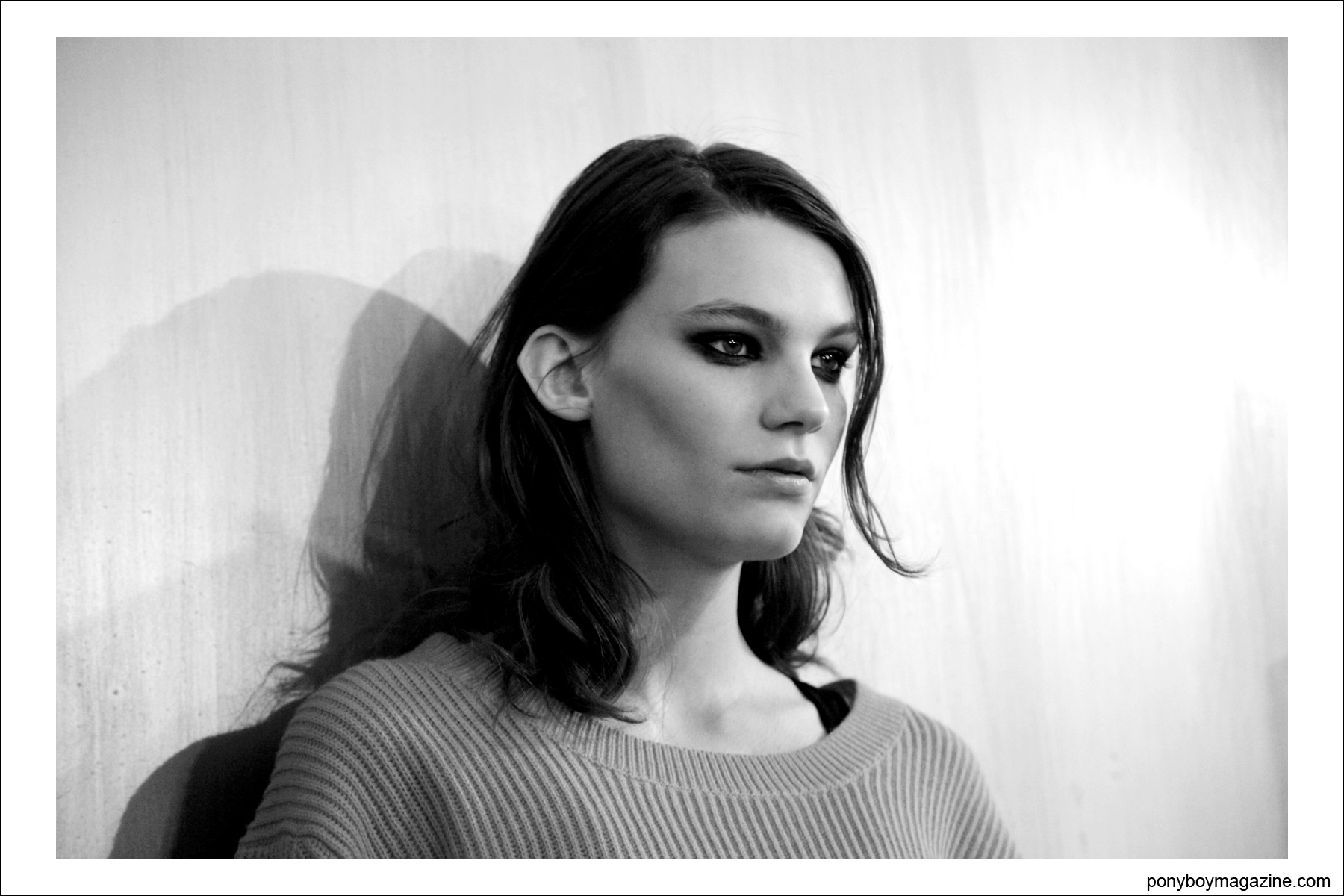 B&W portrait by photographer Alexander Thompson for Ponyboy Magazine, backstage at Sophie Theallet A/W 2014 collection.