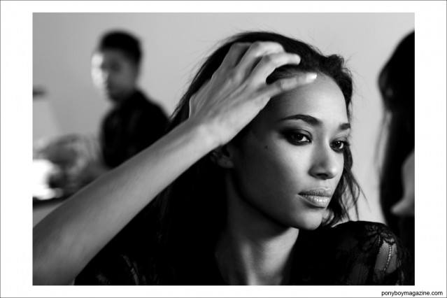 Model Anais Mali photographed backstage at the Sophie Thaellet A/W 2014 collection at MIlk Studios in New York City by Alexander Thompson for Ponyboy Magazine.