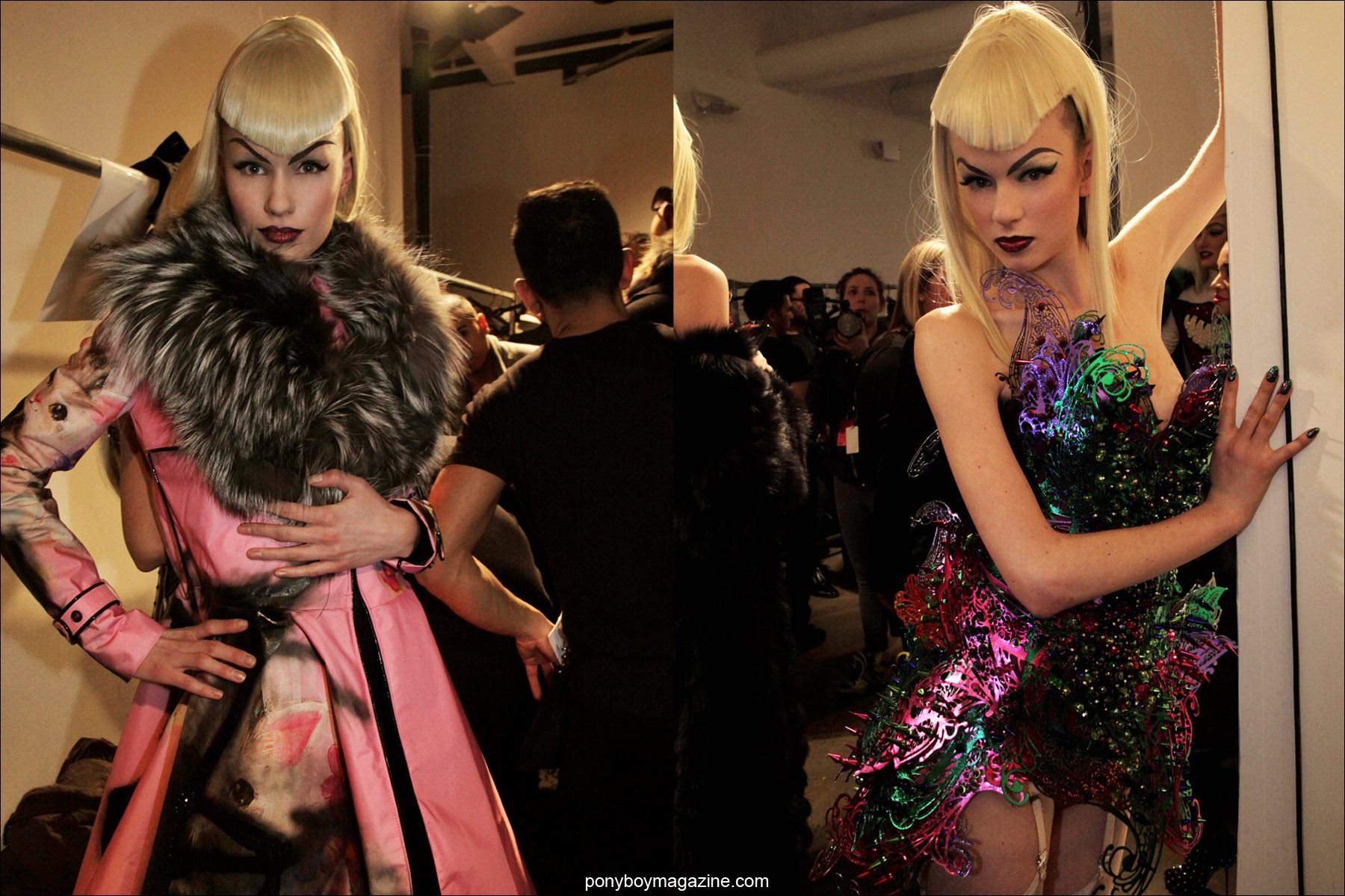 Beautiful blonde models photographed by Alexander Thompson, backstage at The Blonds A/W 2014 fashion show. Photographed for Ponyboy Magazine.