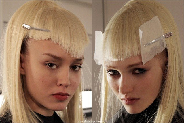 Severe blond wigs at The Blonds A/W 2014 fashion show at Milk Studios. Photographed by New York City photographer Alexander Thompson for Ponyboy Magazine.