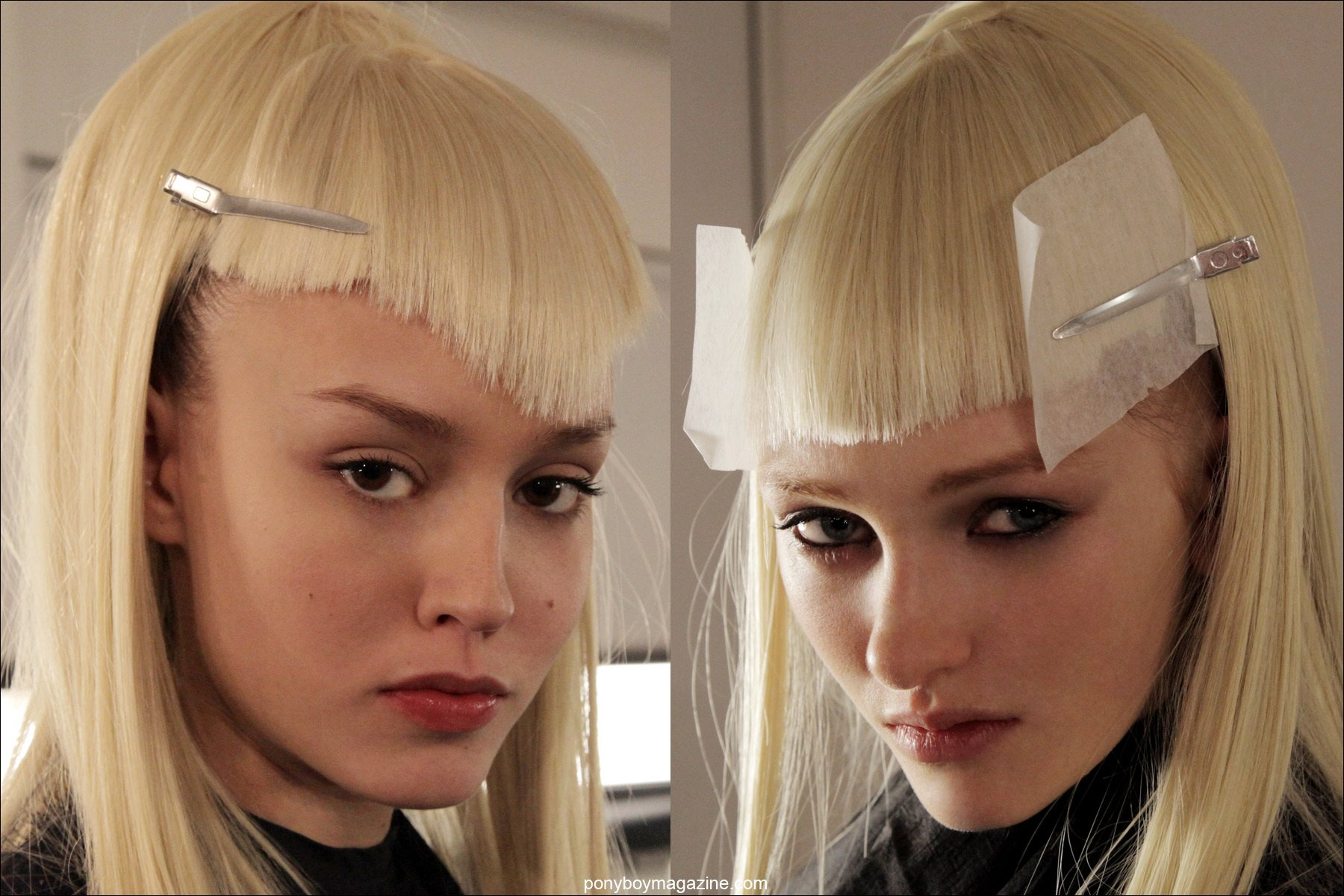 Severely cut blonde wigs, backstage at The Blonds A/W 2014 show. Photographed for Ponyboy Magazine by Alexander Thompson.