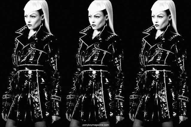 Patent coat at The Blonds A/W 2014 Collection at Milk Studios in New York City. Photographed by Alexander Thompson for Ponyboy Magazine.