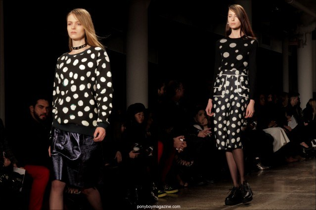 B&W polka dot creations, Timo Weiland A/W 2014 Collection. Photographed in New York City by Alexander Thompson for Ponyboy Magazine.