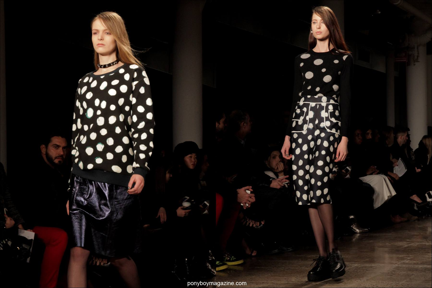 B&W polka dot designs on the runway at Timo Weiland A/W 2014 Collection in New York City. Captured by photographer Alexander Thompson for Ponyboy Magazine.