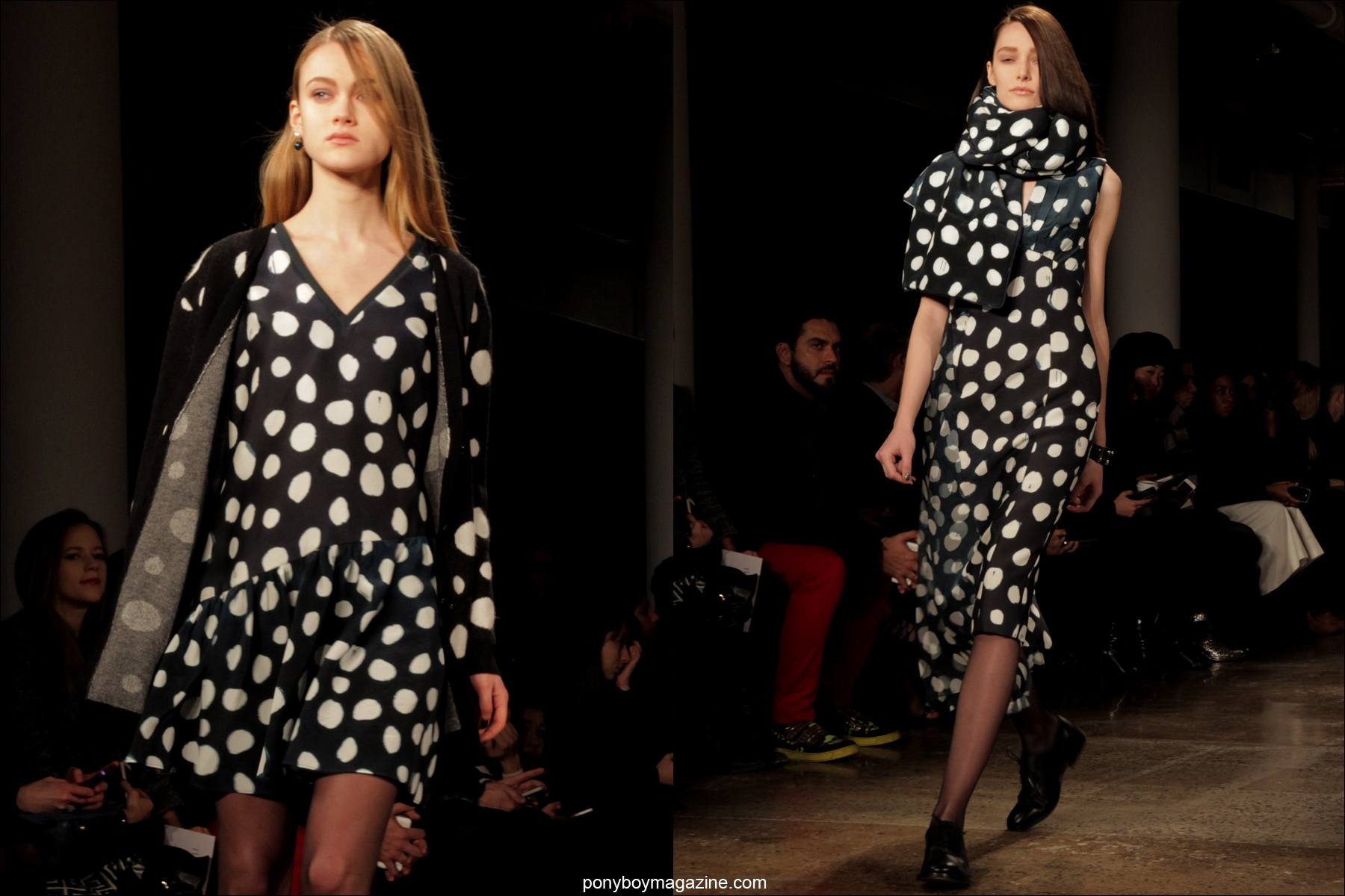 Polka dot womenswear on the runway at Timo Weiland A/W 2014 Collection at Milk Studios in New York City. Photograph by Alexander Thompson for Ponyboy Magazine.