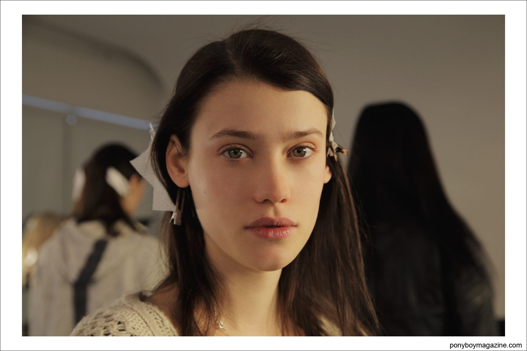 A young brunette model photographed by Alexander Thompson for Ponyboy Magazine in New York City at the Timo Weiland A/W 2014 Collection.