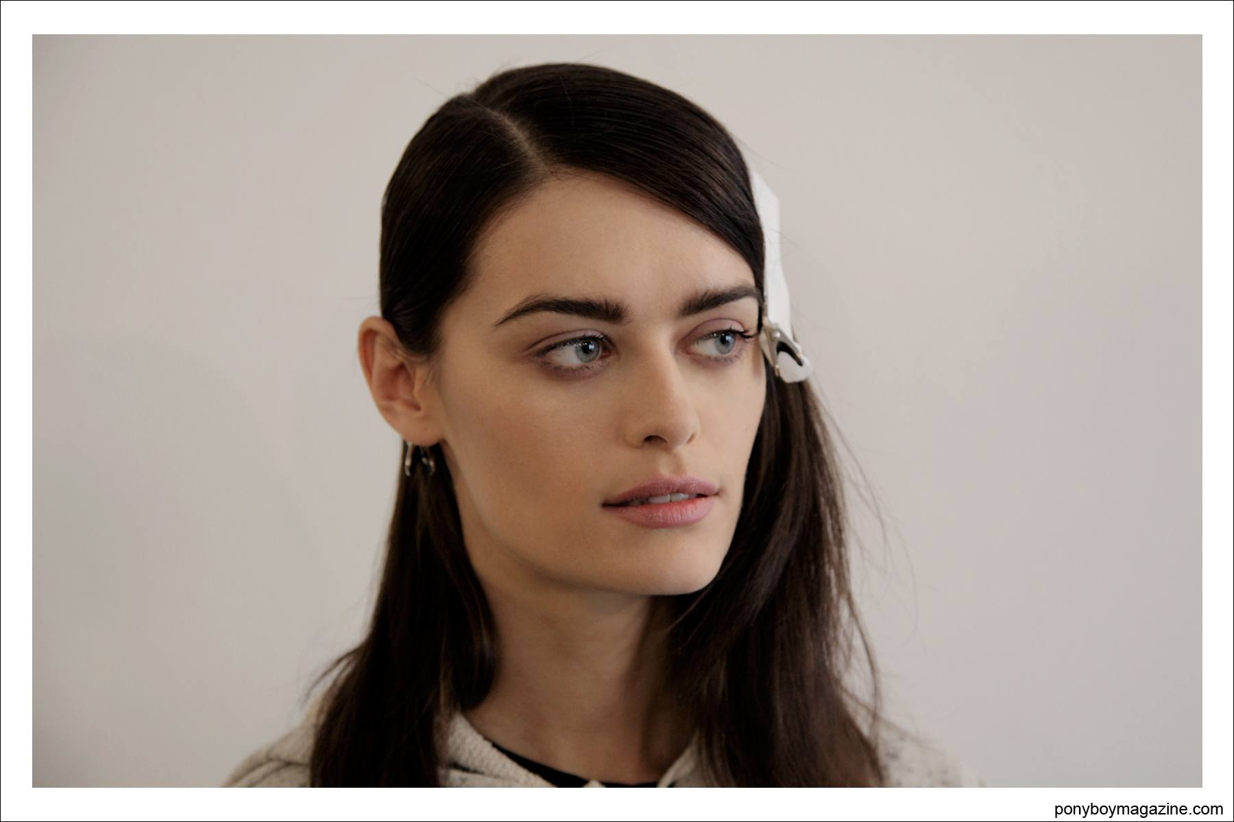 Brunette model poses for Alexander Thompson, backstage at Timo Weiland A/W 2014 Collection in New York City. Photographed exclusively for Ponyboy Magazine in New York City.