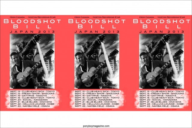 Posters of Japanese tour for rockabilly performer/Norton recording star Bloodshot BIll, Ponyboy Magazine.