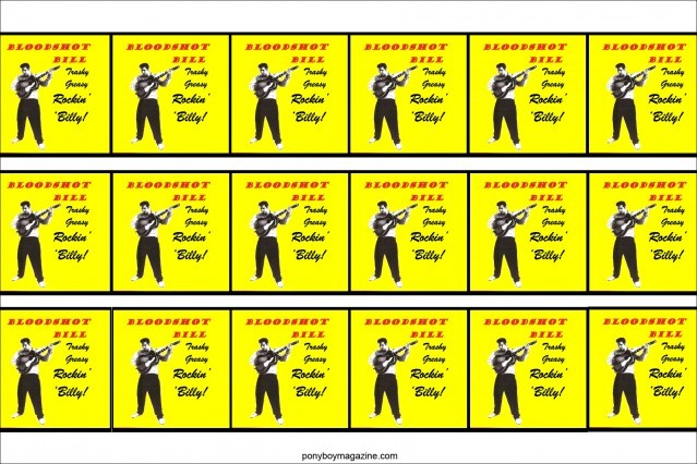 Collage of posters for rockabilly performer Bloodshot Bill, Ponyboy Magazine.