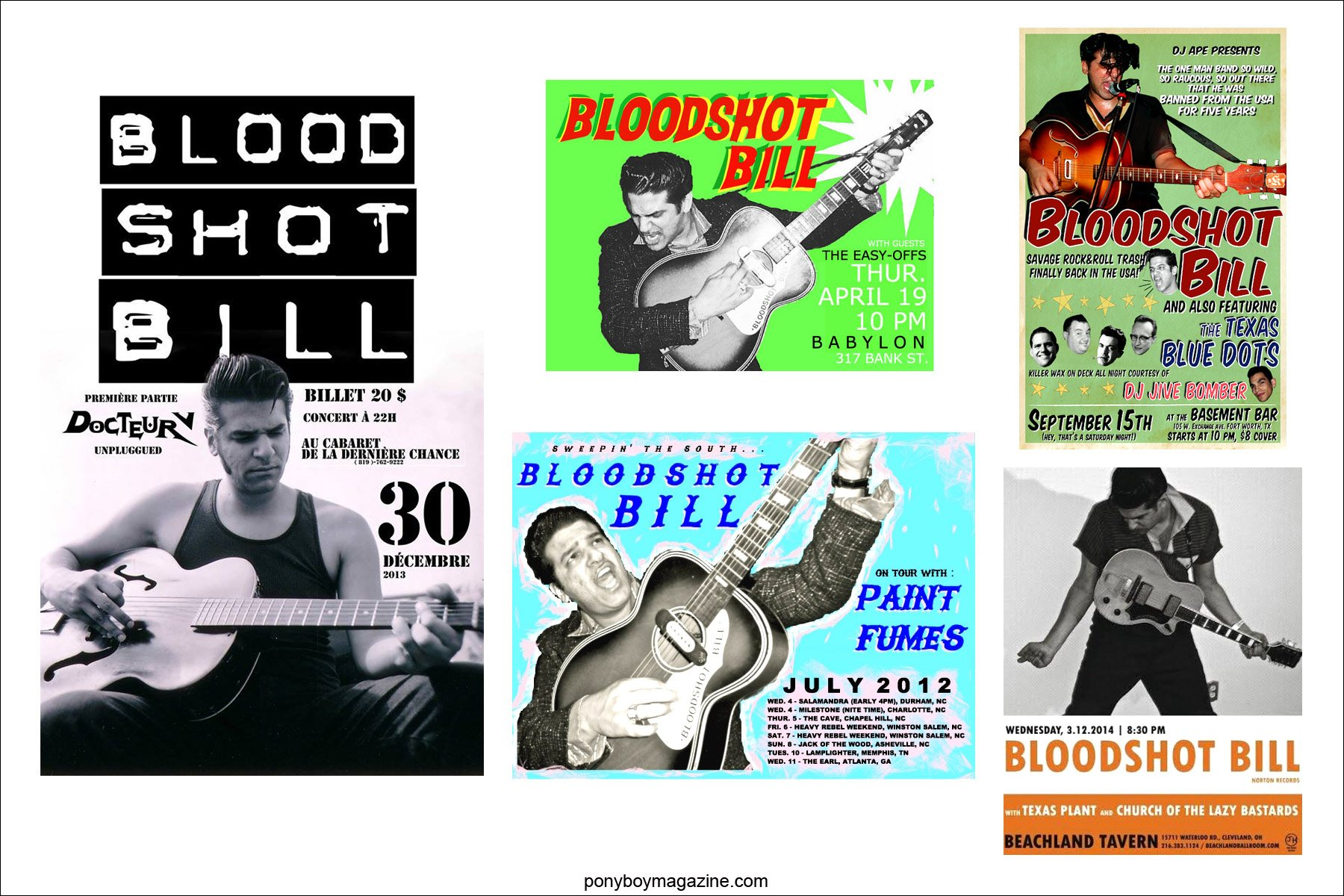 Assortment of flyers, for rockabilly performer Bloodshot Bill. For Ponyboy Magazine in New York City.