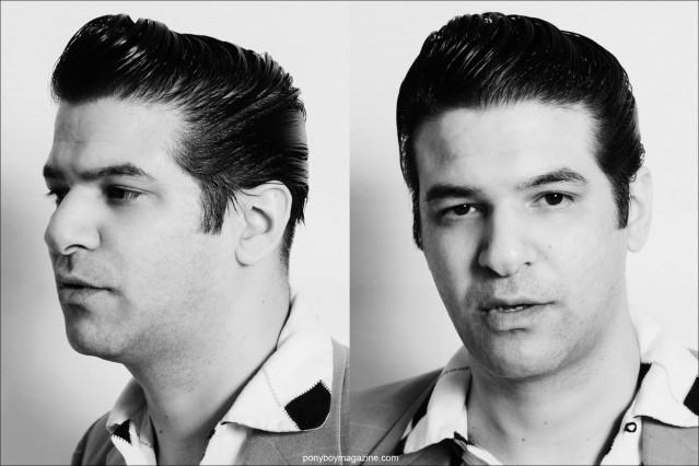 B&W head shots of rockabilly singer Bloodshot Bill, photographed by Alexander Thompson for Ponyboy Magazine.
