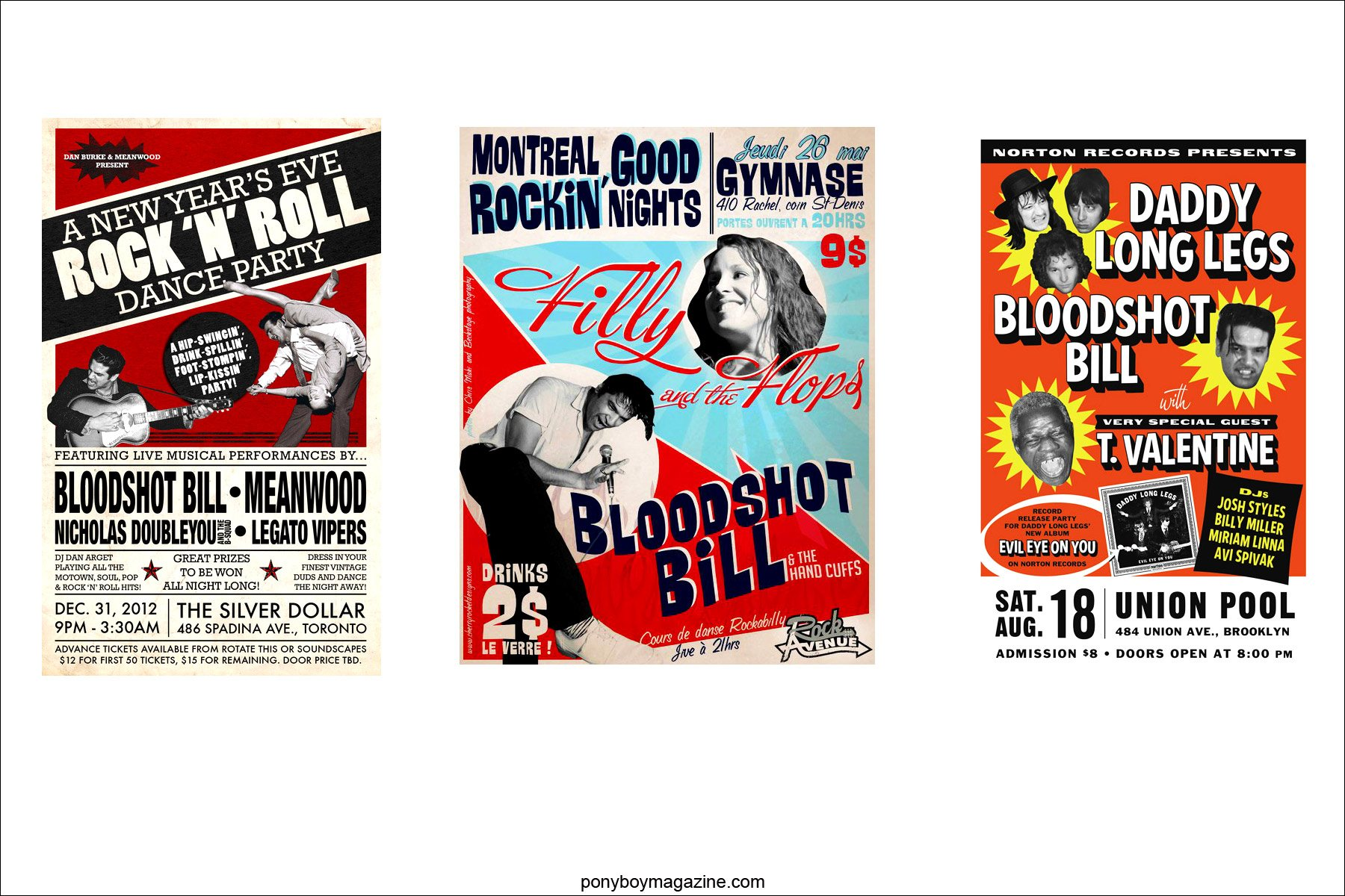 Various flyers of shows for rockabilly legend Bloodshot Bill, for Ponyboy Magazine in New York City.