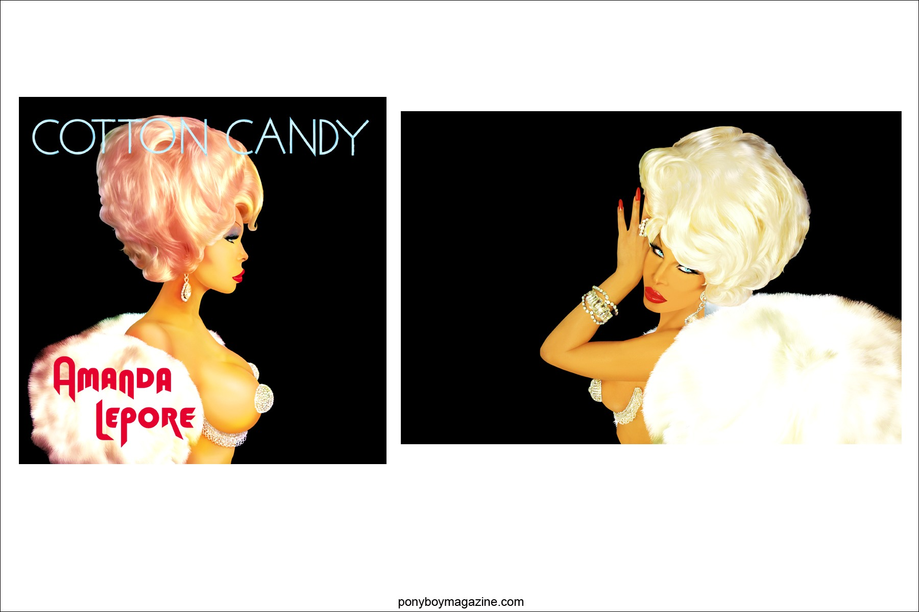 Amanda Lepore images by NYC digital artist and dj Scott Ewalt, Ponyboy Magazine.
