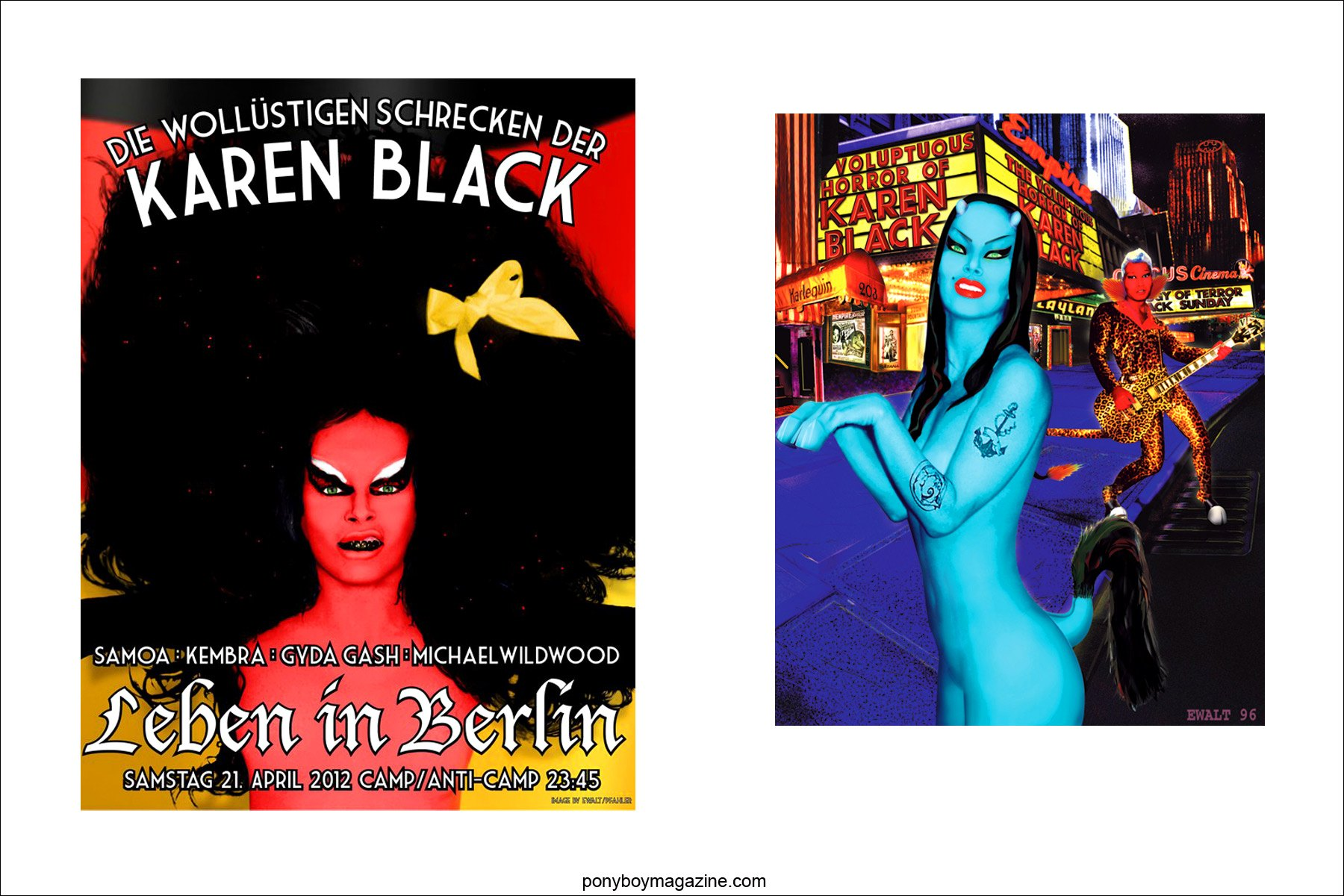 Images of Voluptuous Horror of Karen Black performer Kembra Pfahler by New York artist Scott Ewalt, Ponyboy Magazine.