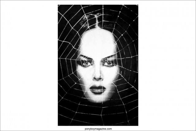 Cobweb artwork of Kembra Pfahler from The Voluptuous Horror of Karen Black by artist Scott Ewalt. Ponyboy Magazine.