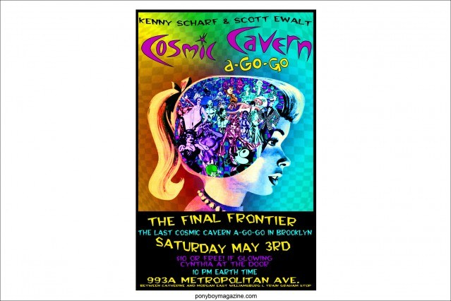 "Artwork for ""Cosmic Cavern a-Go-Go"", the monthly party held by artists Kenny Scharf and Scott Ewalt. Ponyboy Magazine."