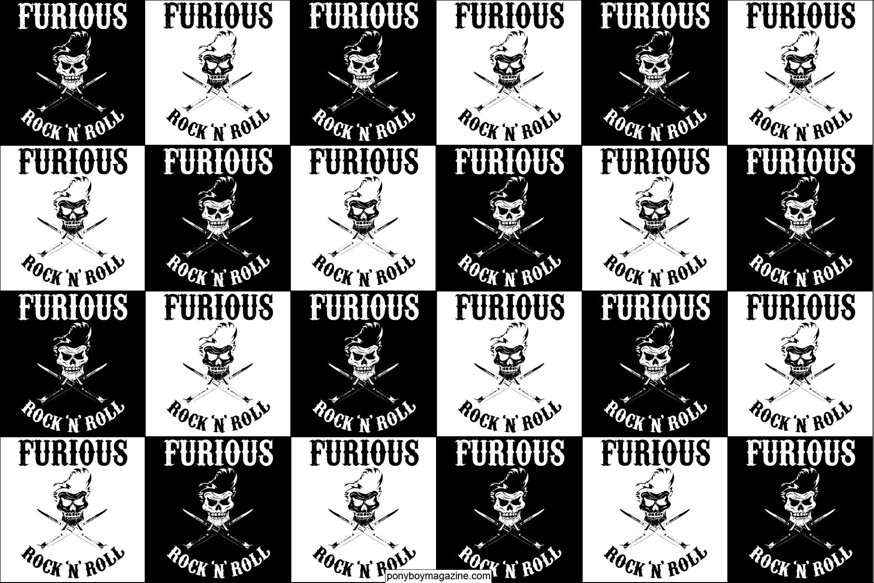 A collage of logos for UK teddy boy band Furious. Ponyboy Magazine.