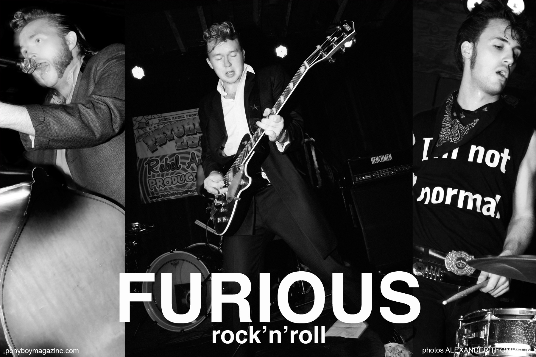 Opener for Ponyboy Magazine spread on teddy boy UK band Furious. Photographs by Alexander Thompson.