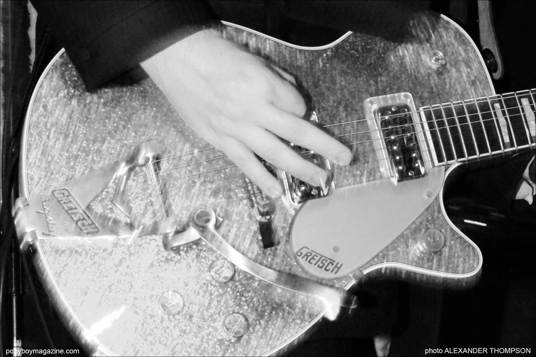 Grestsh guitar close-up from Furious band, photograhped by Alexander Thompson for Ponyboy Magazine in New York City.