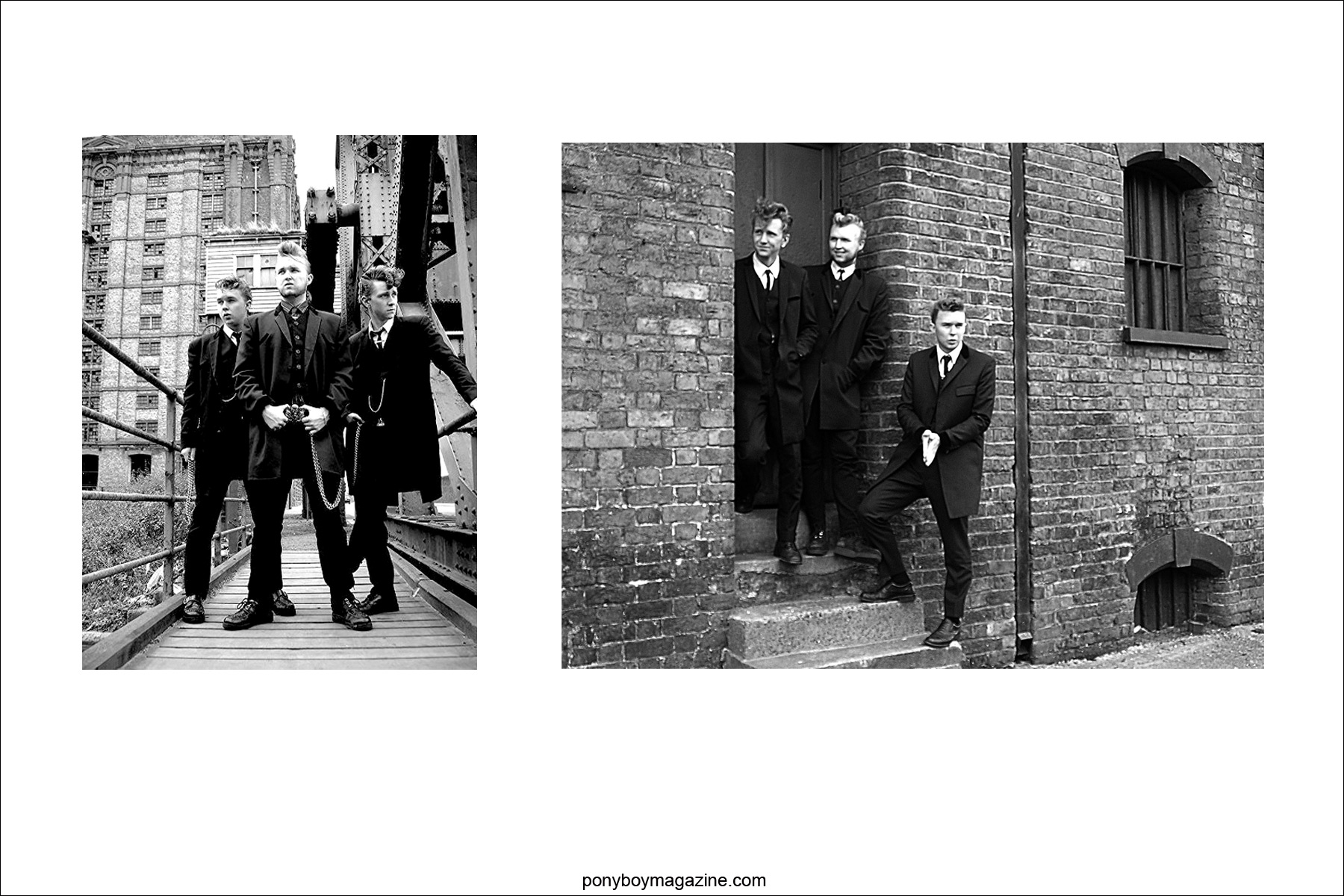 Old publicity shots for UK band teddy boy band Furious. Ponyboy Magazine.
